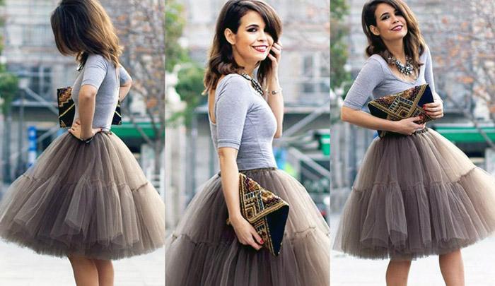 С чем носить короткую пышную юбку