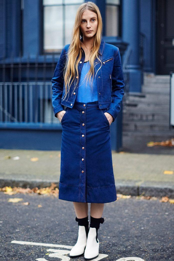 Джинсовая юбка с куртками