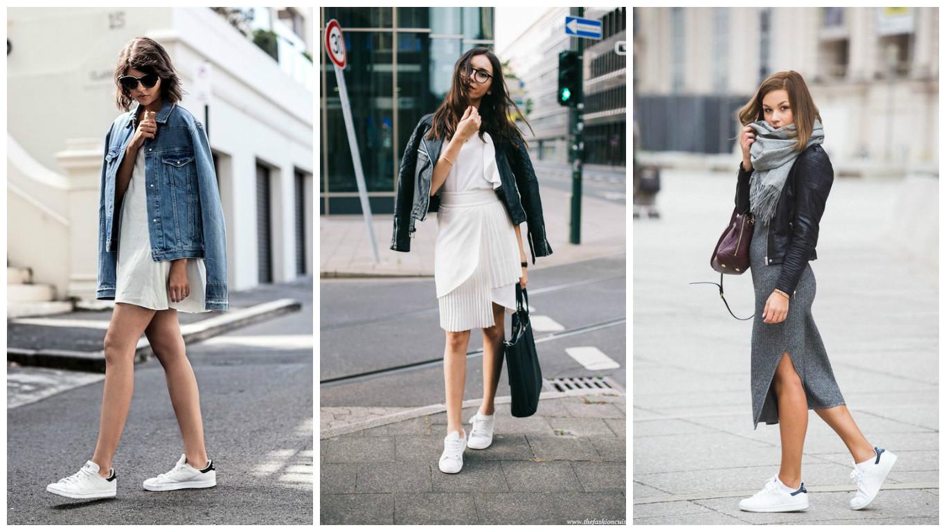Как носить кеды с платьем