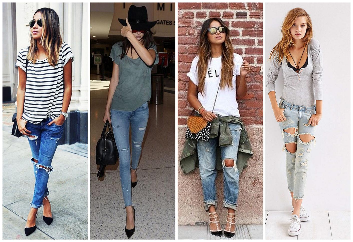 Как правильно носить рваные джинсы?
