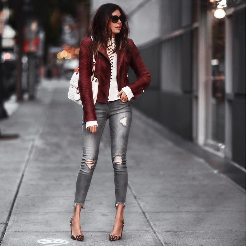 Модные образы с курткой косухой 2018
