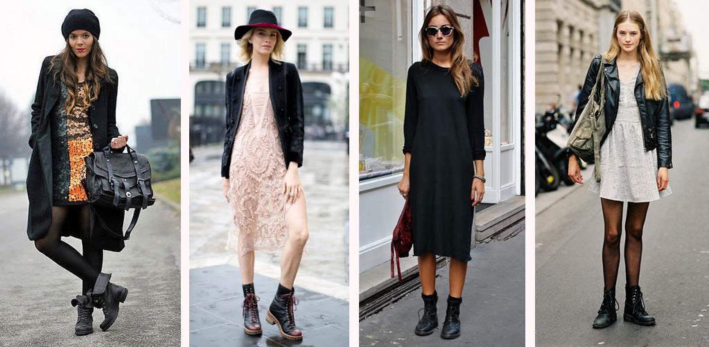 Можно ли носить платье с ботинками?