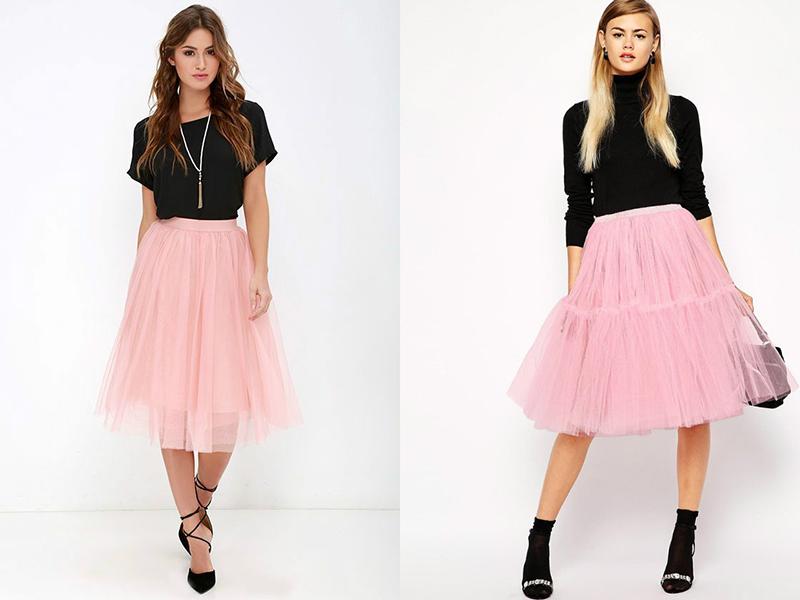 Подбор верха к юбке розового цвета