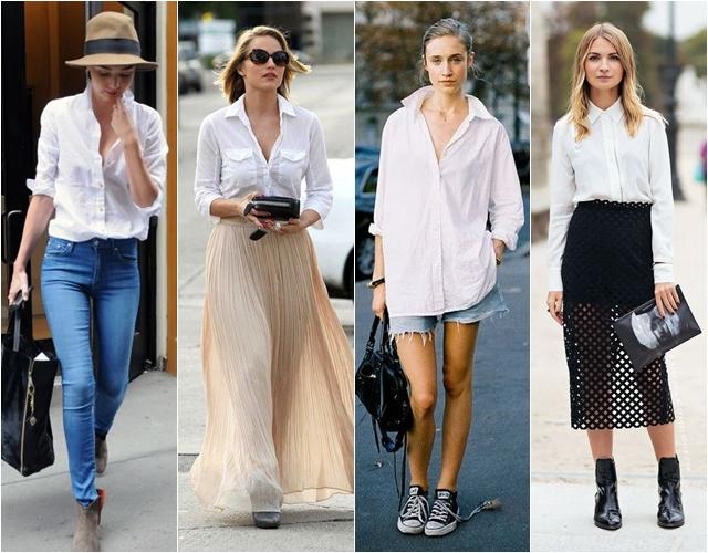 Стильные сочетания с белой рубашкой