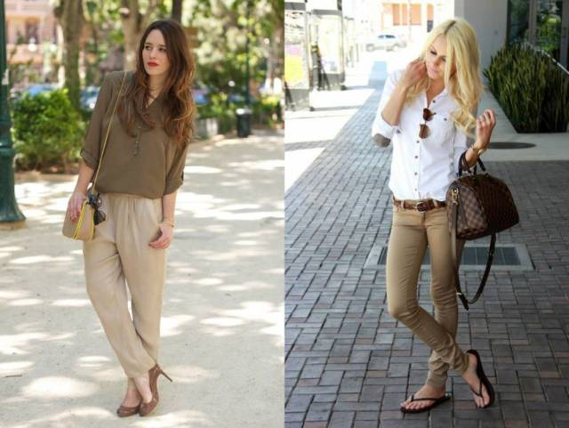 С какими аксессуарами носить бежевые брюки?