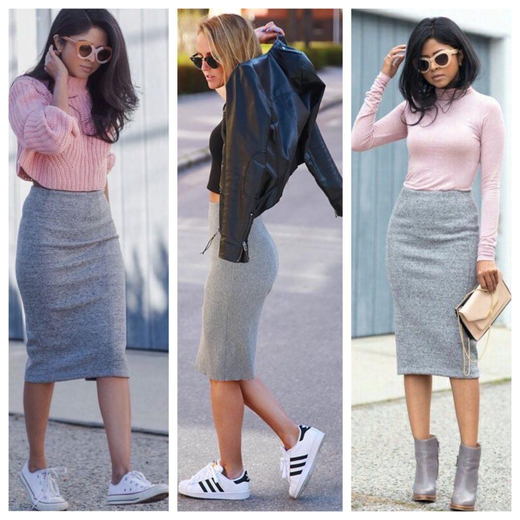 С каким цветом сочетать серую юбку
