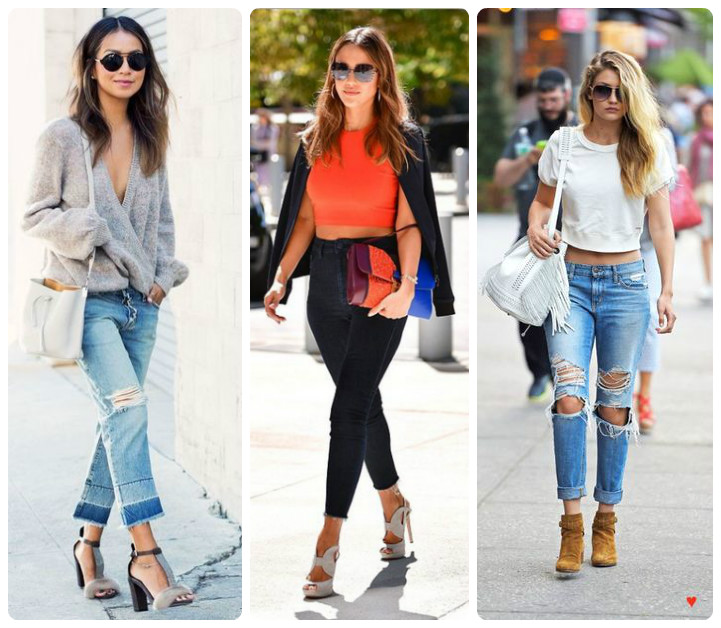 С какой обувью носить укороченные джинсы