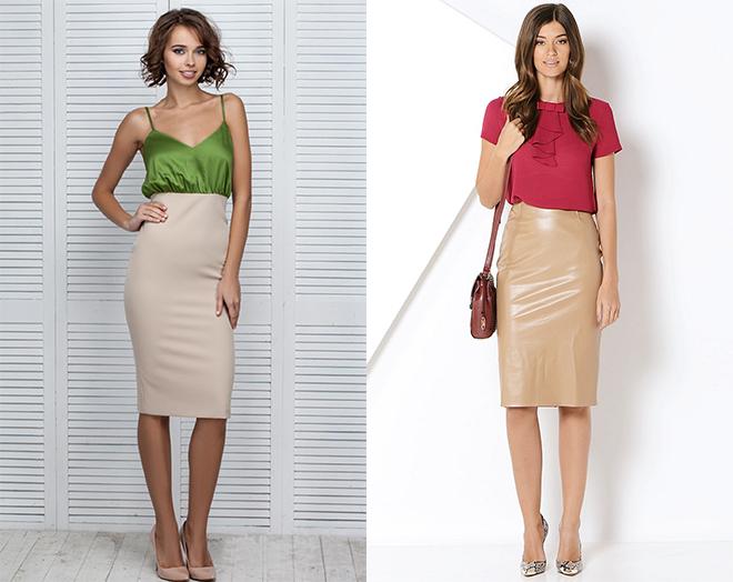 С чем носить бежевую юбку? Комбинация «Цветная»