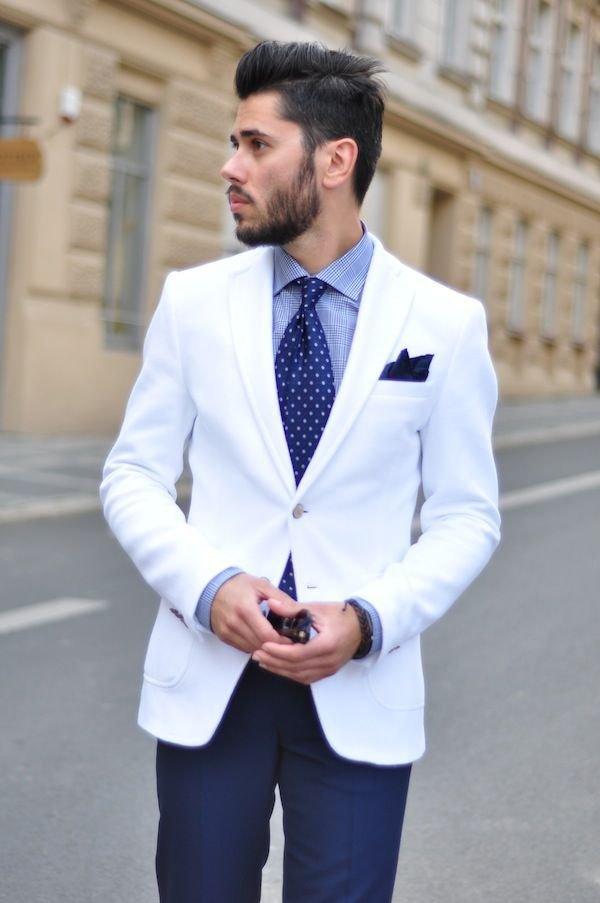 С чем носить белый пиджак мужчине