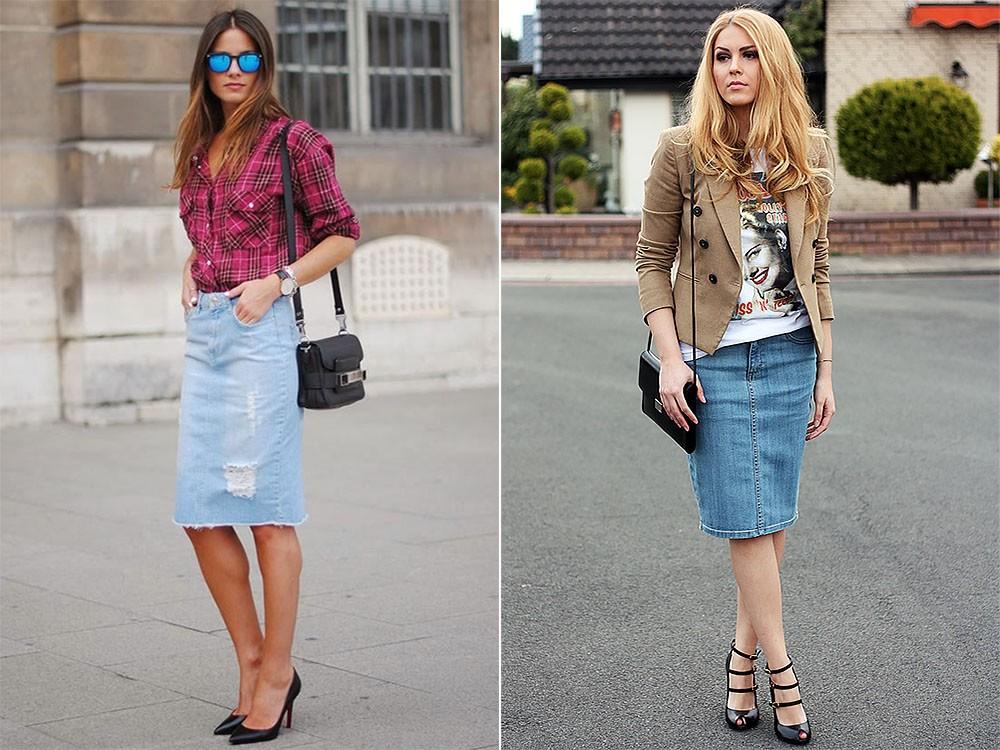 С чем носить джинсовую юбку: обувь и аксессуары