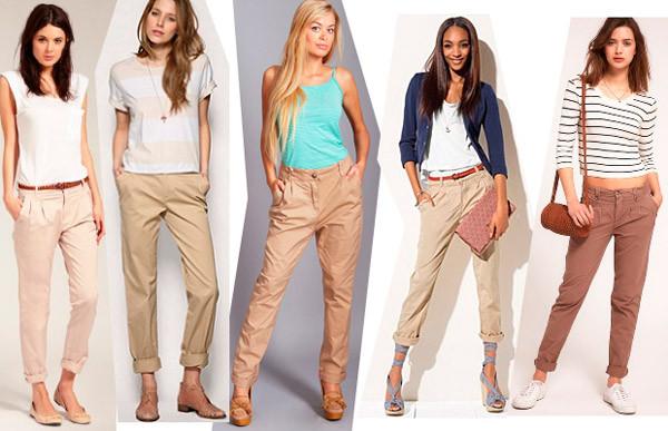 С чем носить женские бежевые брюки?