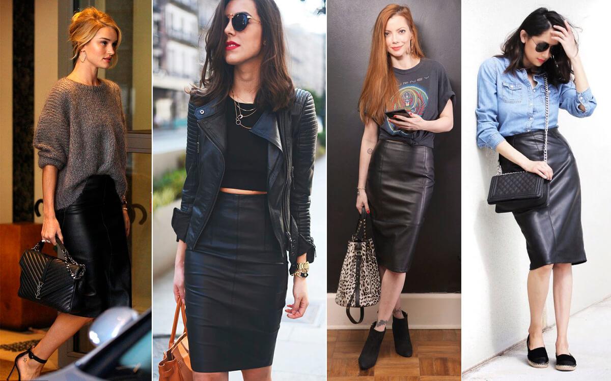 С чем носить кожаную юбку карандаш?