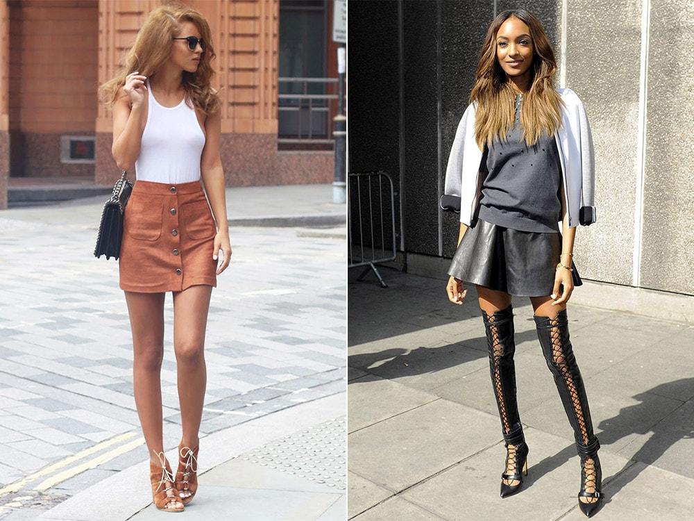 С чем носить мини-юбку из кожи?