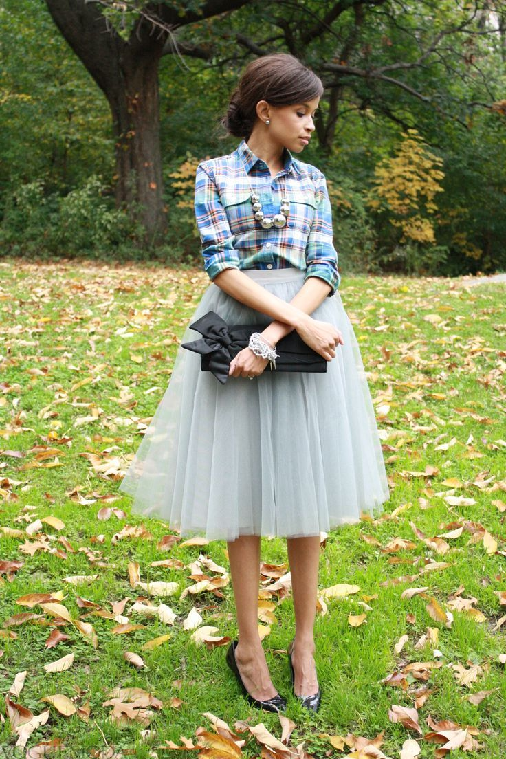 С чем носить серую юбку пачку