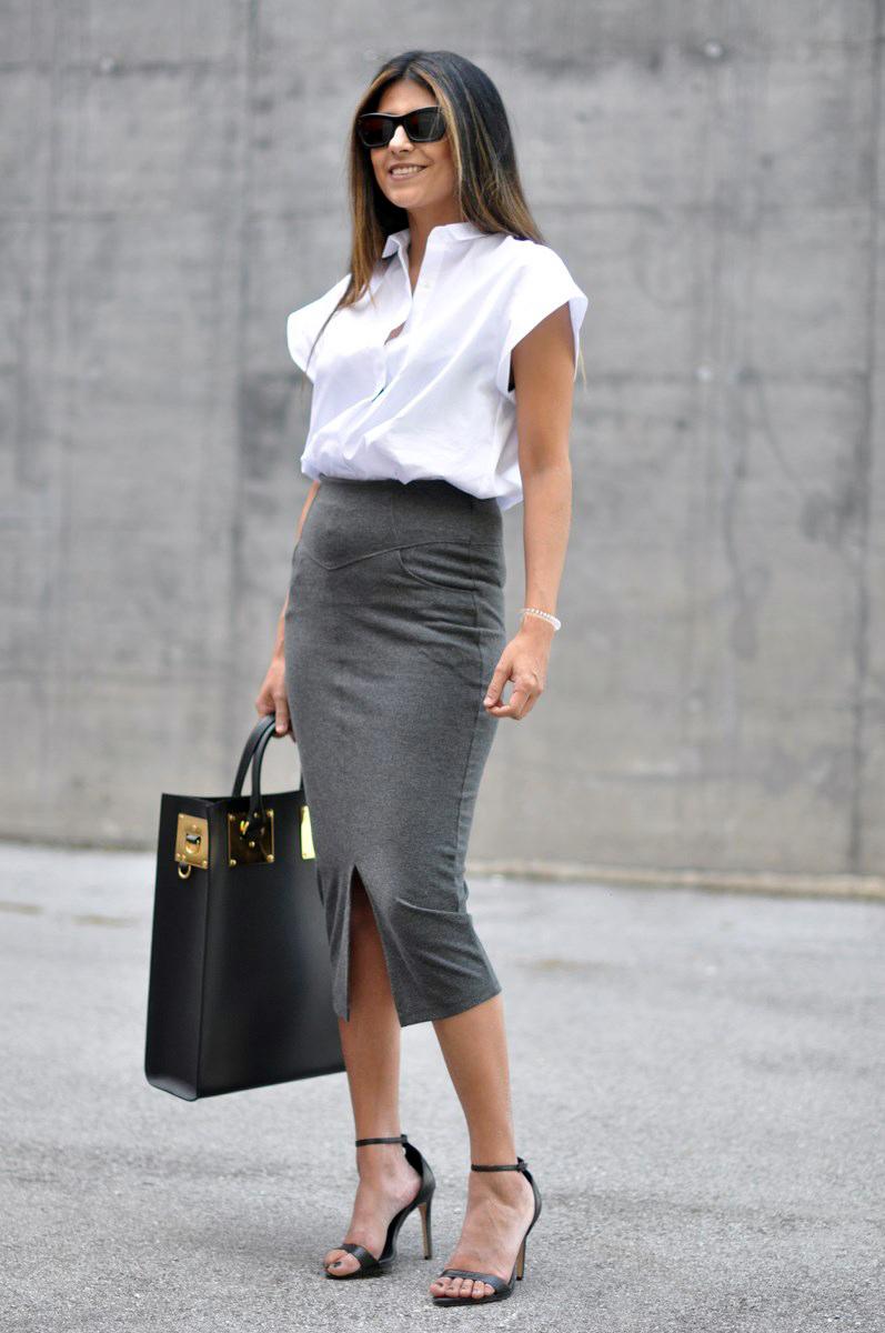 С чем носить серую юбку