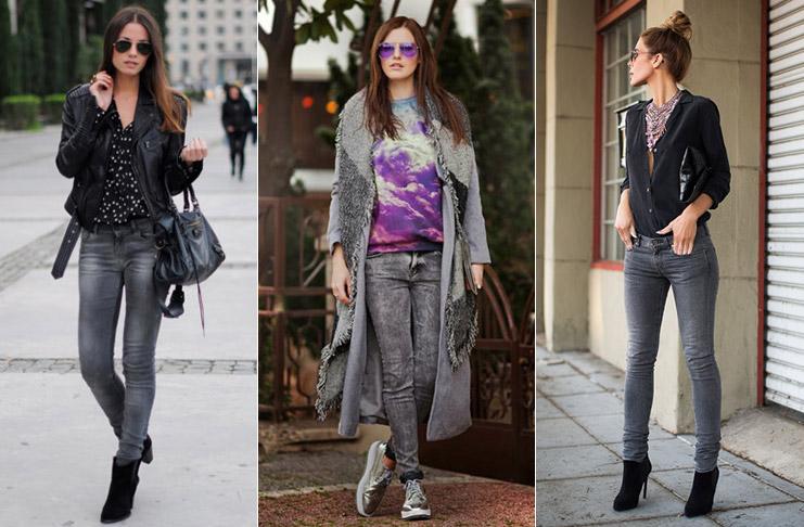 С чем носить серые джинсы женские?