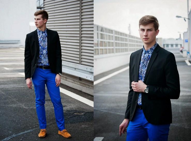 Счем носить синие мужские брюки?