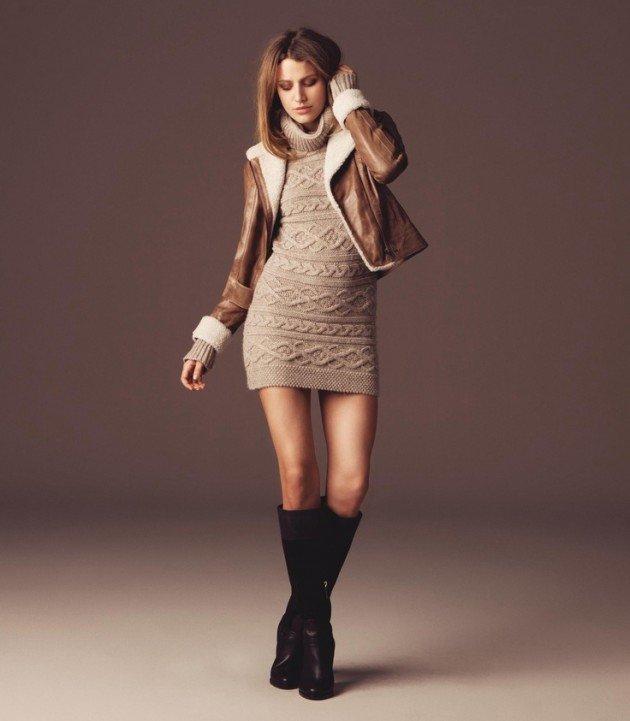 С чем носить трикотажное платье зимой?