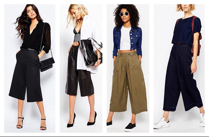 С чем носить укороченные широкие брюки