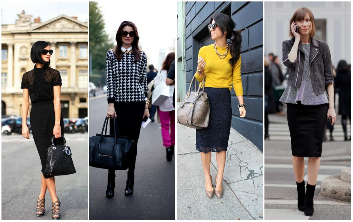 С чем носить черную юбку-карандаш