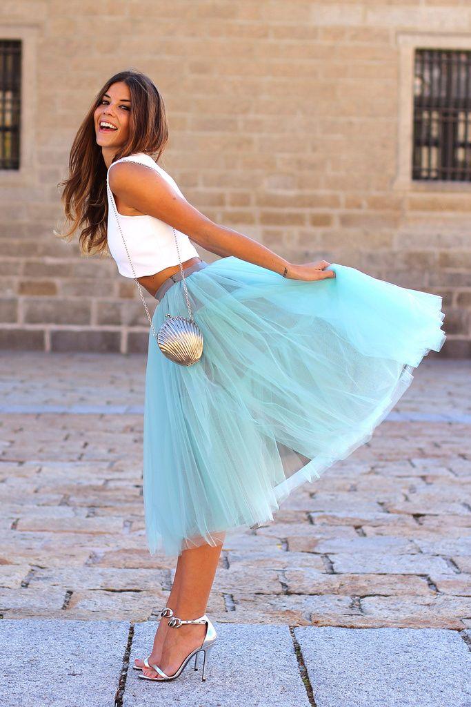 С чем носить юбку-пачку «миди» и укороченные модели?