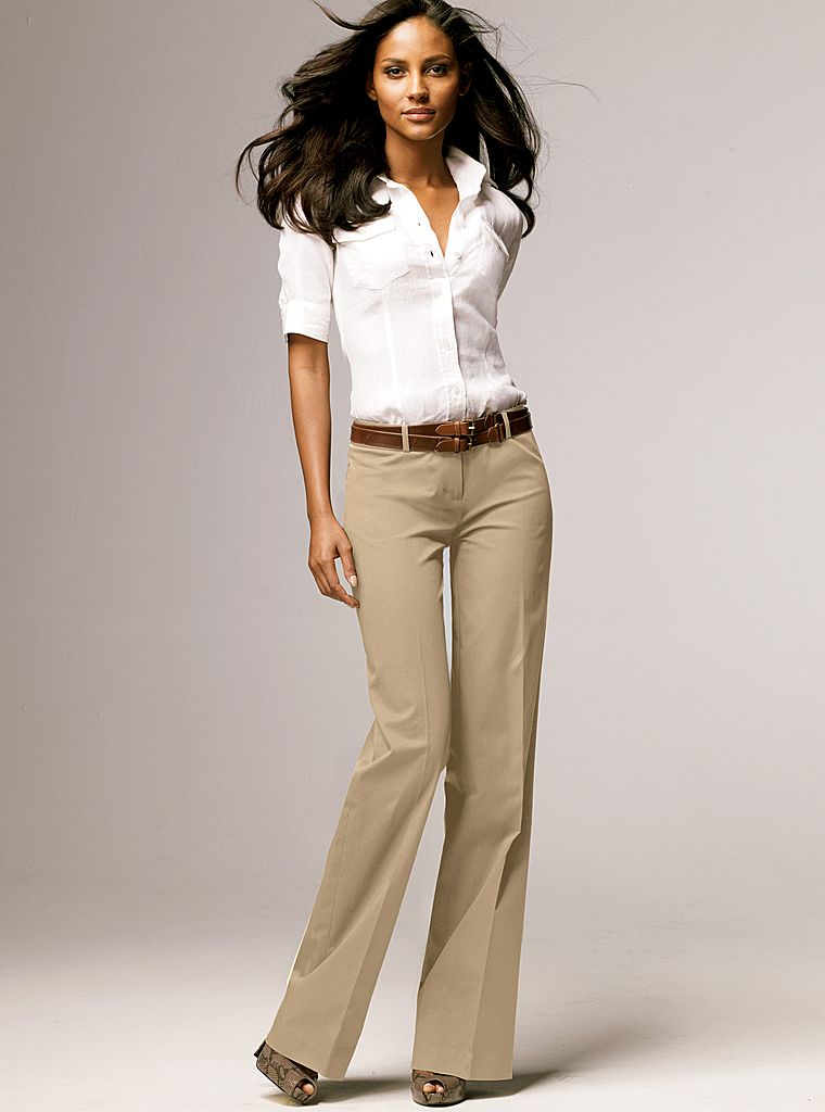 Фасоны модных бежевых брюк