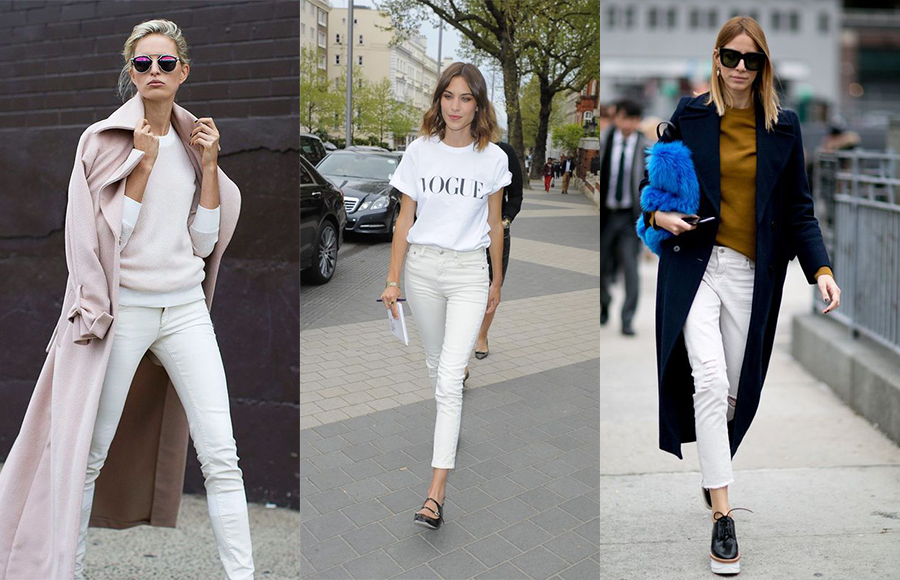 Что удачно сочетается с женскими белыми джинсами
